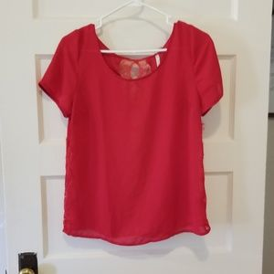 LC red lace cutout top